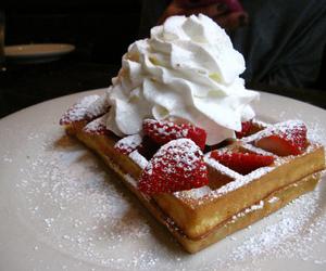 cream, waffles, and food image