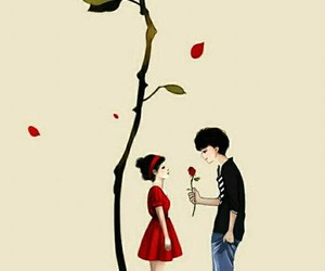 love, rose, and boy image