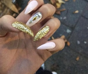 design, gold glitter, and nail art image