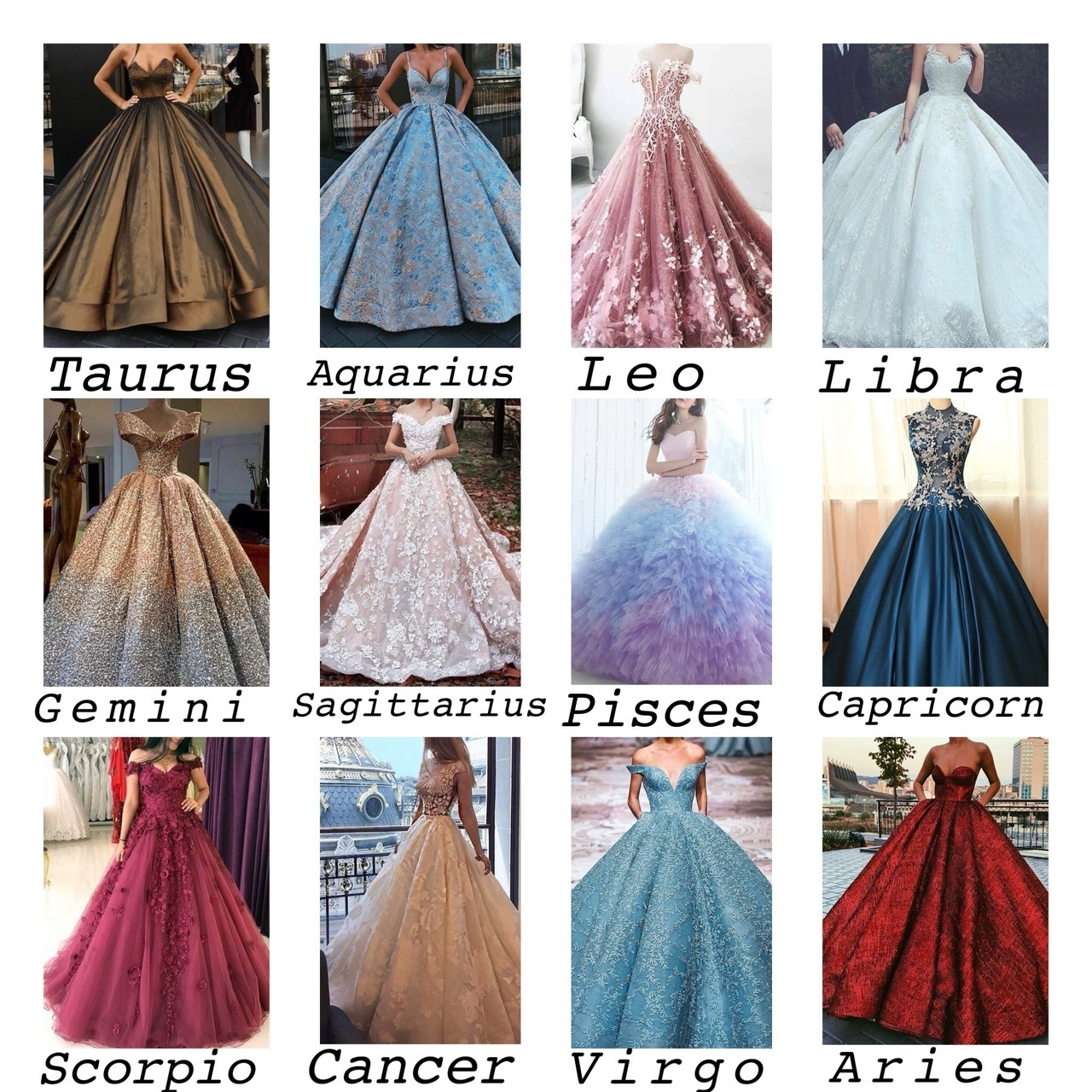 Zodiac signs and their Princess dress on We Heart It