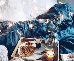 bed, food, and lights image