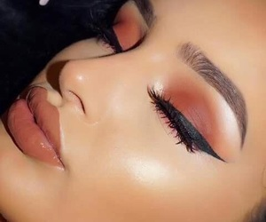 beauty, eyeliner, and lipstick image