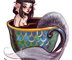 art, mermaid, and fukari image