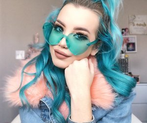 blue hair, make up, and hailie barber image