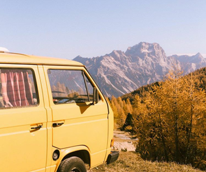 Camper, fall, and mountain image