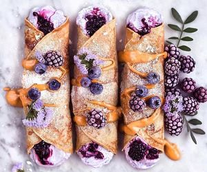 blackberries, vegan, and vanilla crepes image