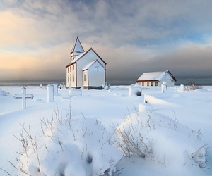 winter, snow, and church image