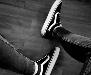 black&white, shoes, and vans image