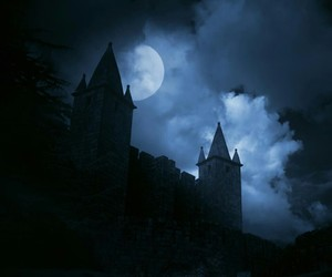 castle, moon, and dark image