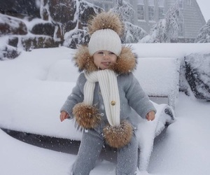 adorable, baby, and snow image
