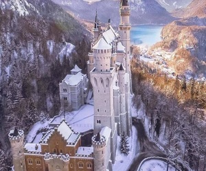 castle, snow, and mountains image