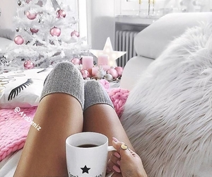 christmas, coffee, and pink image