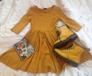 aesthetic, dress, and yellow image