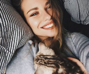 girl, cat, and smile image