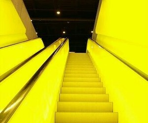 yellow, stairs, and neon image