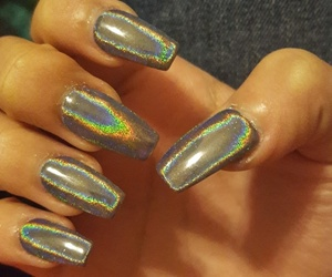 holographic, nails, and coffin nails image