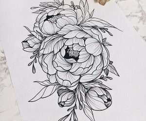 black&white, drawing, and flower image