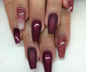 nails, glitter, and red image