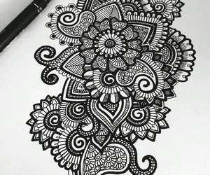 black and white, mandala, and art image