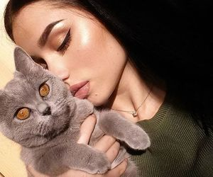 cat, girl, and makeup image