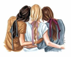 amigas, blonde hair, and art work image