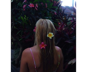 beach, flowers, and green image