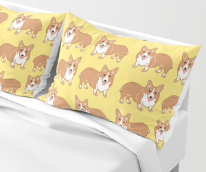 corgi, pillow sham, and home decor image