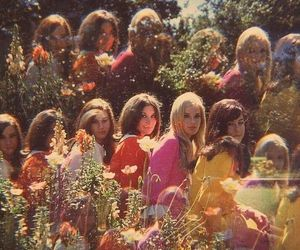 flowers, girls, and vintage image