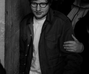 ed sheeran, black and white, and divide image