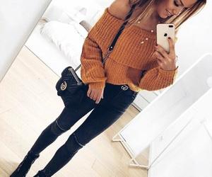 black jeans, winter, and off shoulder image