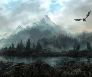 skyrim, dragon, and mountains image