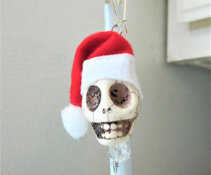 day of the dead, santa hat, and santa ornament image