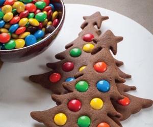 christmas, m&ms, and tree image