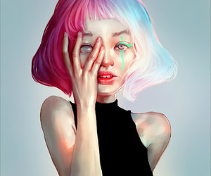 art, pink and blue, and digital art girl image