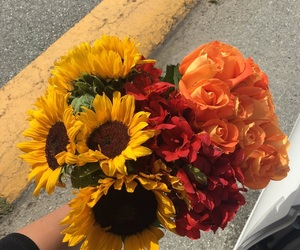 bouquet, flowers, and sunflower image