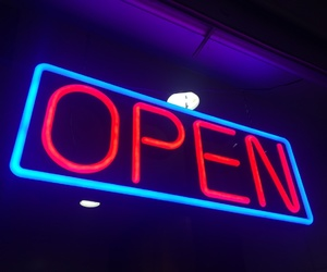 blue, neon, and open image