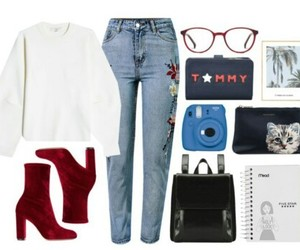 backpack, glasses, and jeans image