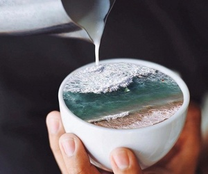 coffee, ocean, and milk image