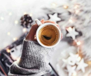 christmas lights, coffee, and stars image