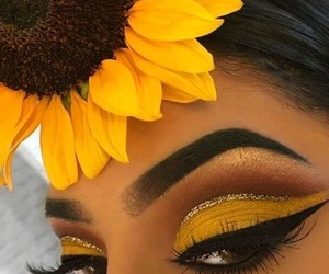 eyebrows, makeup, and sunflower image