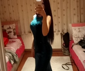 black, black hair, and dress image