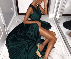 clothes, green, and dresses image