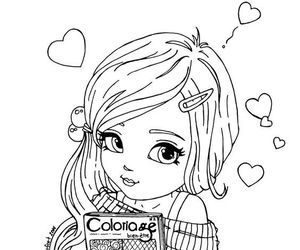 coloring, girl, and coloringpages image