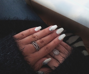 long nails, white, and winter spirit image