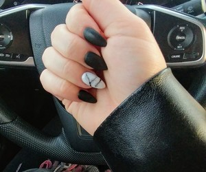 black nails, nails, and white marble image