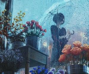 art, rain, and flowers image