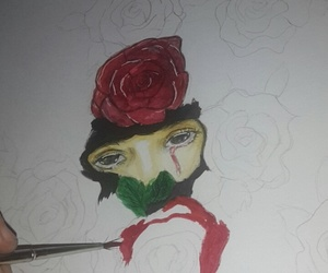 rose, watercolours, and colour pencils image