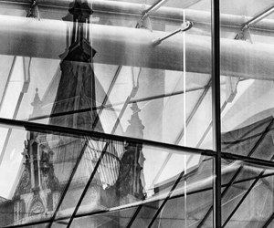 b&w, reflection, and building image