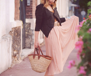 arm candy, flats, and long skirt image