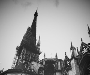 black and white, castle, and dark image